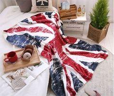 Vintage British Flag England Union Jack Sofa Bed Fleece Throw Blanket Flag | eBay