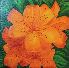 Tami Baron - Orange Lily - Oil on canvas 8 x 8