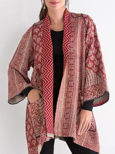 Mieko Mintz Kantha A-Line Jacket Batik Fashion, Hijab Fashion, Fashion Outfits, Kimono Fabric, Batik Dress, Outer Batik, Look Fashion, Fashion Design, Fashion Women