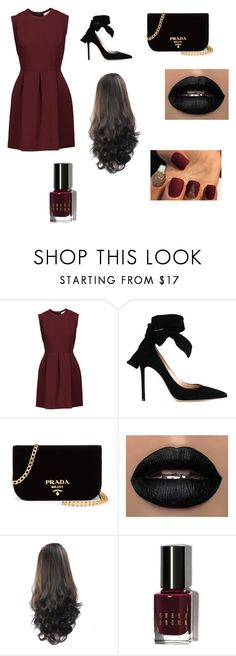 """""""Red and black"""" by cally-gem ❤ liked on Polyvore featuring Sandro, Gianvito Rossi, Prada and Bobbi Brown Cosmetics"""