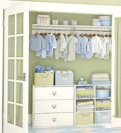 nursery closet organization - great solution for a fixed rod at top. open cube shelving & drawers below. Baby Nursery Closet, Baby Bedroom, Baby Boy Rooms, Baby Room Decor, Baby Boy Nurseries, Nursery Room, Baby Closet Organization, Organization Ideas, Deco Kids