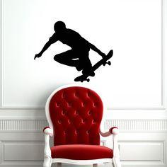 Skate Skateboard Skateboarder Board Sport Jump Street Wall Vinyl Decal Sticker Housewares Design Murals Interior Decor Home Bedroom SV4668