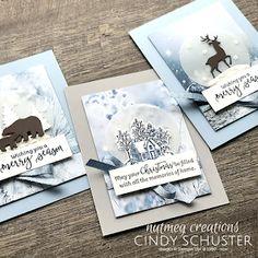 nutmeg creations: Fancy Friday - A Blue Christmas Homemade Greeting Cards, Homemade Christmas Cards, Christmas Greeting Cards, Handmade Christmas, Holiday Cards, Homemade Cards, Blue Christmas, Christmas Snow Globes, Christmas Themes