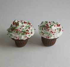 Christmas Chocolate Cupcakes Red Green Sprinkles Set of 2 - Barbie Fashion Dolls Food