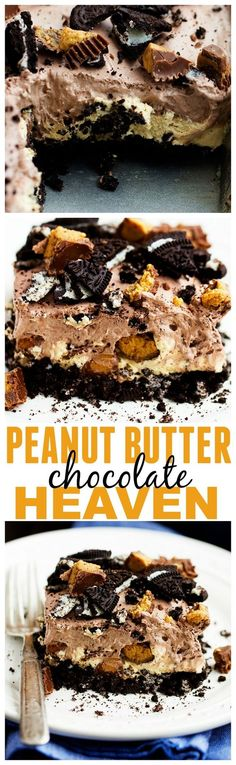 This Peanut Butter Chocolate Heaven is one of the BEST desserts you will make! Layers of oreo peanut butter cheesecake and a chocolate pudding whipped topping! HEAVEN!