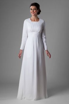 Lovely temple dress, style Manhattan, is part of the Wedding Collection of LatterDayBride, a Salt Lake City bridal shop. Modest Wedding Gowns, Modest Dresses, Bridal Gowns, Bridesmaid Dresses, Prom Dresses, Formal Dresses, Reign Dresses, Bride Dresses, Temple Dress