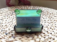 Stained Glass Wispy Green Business Card Holder