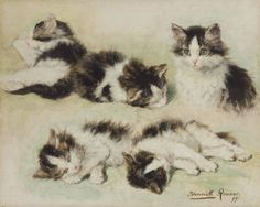 Henriette Ronner-Knip (Dutch, 1821 - 1909): Studies of kittens (1899) (via Christie's)