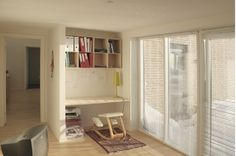 Nice crisp sunlight enters the bedroom/reading room of the Housing Series Nova With nice creamish interiors, this home is for the natural light Reading Room, Natural Light, Sunlight, Crisp, Bookcase, Nova, Divider, Shelves, Interiors