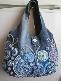 This is my amazing jeans bag.It is made in the technique of Irish Crochet Lace.I… This is my amazing jeans bag.It is made in the technique of Irish Crochet Lace.If you by this bag it will be the one and… Sigue leyendo → Freeform Crochet, Irish Crochet, Crochet Lace, Denim Handbags, Denim Tote Bags, Fabric Bags, Denim Fabric, Cotton Fabric, Jean Purses