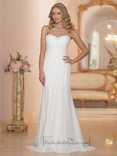 Chiffon Sheath Sweetheart Criss Cross Ruched Bodice Wedding Dresses Corset Back
