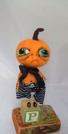 Peter the pumpkin Ooak ART doll by papermoongallery on Etsy, $59.00