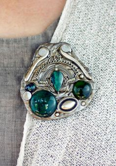 A round irregular brooch of stained glass drops by HalamaHandMade, $40.00