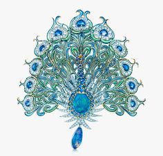This glorious peacock brooch with diamonds, sapphires, emeralds, and black opals was inspired by a design from the Tiffany Archives. Tiffany craftsmen created the brooch using plique-à-jour, an enameling technique that gives a stained glass effect. Bijoux Art Nouveau, Art Nouveau Jewelry, Peacock Jewelry, Opal Jewelry, Peacock Necklace, Feather Earrings, Bling Jewelry, Jewellery Sketches, Tiffany Jewelry
