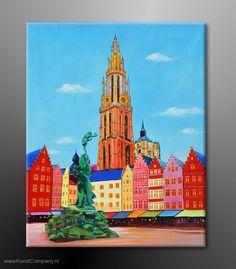 Antwerpen, handgeschilderd schilderij (olieverf), Kunst Company