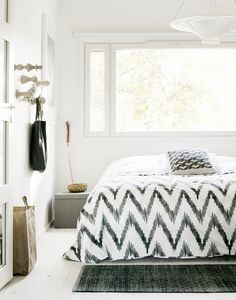 white bedroom // love graphic pillow & duvet cover