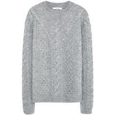 Mango Cable Knit Jumper , Medium Grey (105 BAM) ❤ liked on Polyvore featuring tops, sweaters, medium grey, grey sweater, textured sweater, gray cable knit sweater, embellished tops and gray sweater