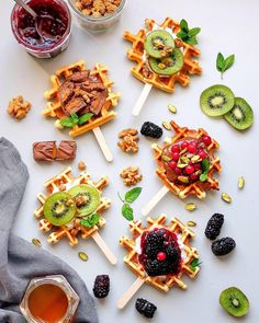 Photo by Waffle pops, anyone? Waffle Recipes, Baby Food Recipes, Healthy Recipes, Waffle Pops, Cafe Food, Sweet Desserts, Easy Snacks, Aesthetic Food, Food Photography