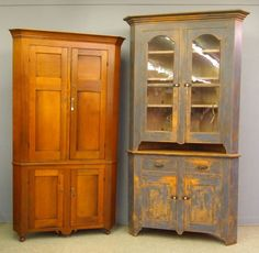 Found on EstateSales.NET: Corner Cupboards, Ohio Walnut c 1840 and 2 pc. Pine in Original Blue paint c. 1870