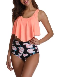 Adisputent Womens Bikini Swimsuit High Waist Two Piece Tankinis Vintage Floral Flounce Crop Top with Cut Out Bottom Strappy Swimwear Bathing Suits