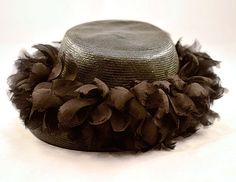 1950's Schiaparelli straw and organza feathers hat
