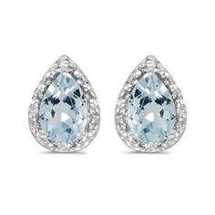 14k Gold 1 1/5ct TDW Diamond & Pear Aquamarine Stud Earrings (14k Yellow Gold), Women's, Size: Medium, Blue