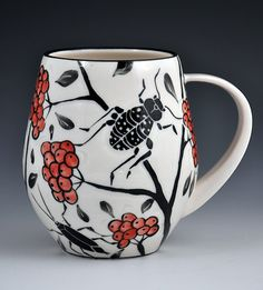 Handmade pottery mug by Katherine Heckl - White background with red and black design - Bug mug - Functional pottery Ceramic Boxes, Ceramic Cups, Ceramic Art, Pottery Mugs, Ceramic Pottery, Clay Mugs, Ceramic Pendant, Porcelain Clay, Sgraffito