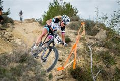 Neff tackled the downhill in Voroklini on her LIv/giant Obsess Advanced, which features 27.5 wheels.
