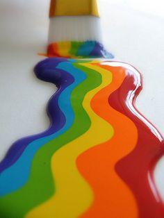 KLEURZUIVERHEID/VERZADIGING . - een regenboog kleur is krachtig , sterk , zuiver en verzadigd