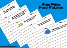 Winter Writing Prompt Worksheets! by theautismhelper.com
