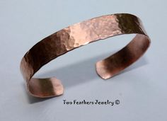 Hammered Copper Cuff Bracelet Hammered Cuff by TwoFeathersJewelry, $21.95