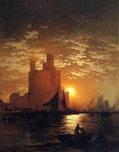 """Moonlit Scene"" | © #Edward_Moran (American, 1829-1901)"