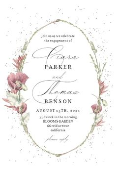 Poppy Flower Wreath - Engagement Party Invitation #invitations #printable #diy #template #Engagement #party #wedding Wedding Invitation Message, Free Wedding Invitations, Christening Invitations, Engagement Party Invitations, Bridal Shower Invitations, Poppies, Wedding Ceremony, Our Wedding, Wreaths