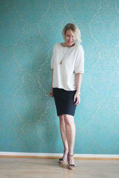A fashion blog for women over 40 and mature women http://www.glamupyourlifestyle.com/  Sweater: Zara Skirt: Boss Sandals: Dorothee Schumacher