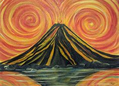 volcano abstract painting - Google Search