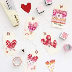 """Major love for washi tape + easy DIY tags perfect for last minute Valentines. Also gold stapler action and those adorable foxes https://youtu.be/DfwNtpva39E"