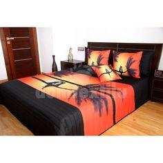 Oranžovo čierny prehoz na posteľ s romantickým motívom - domtextilu. Bed Covers, 3d, Furniture, Home Decor, Bed Quilts, Decoration Home, Daybed Covers, Room Decor, Bedspreads