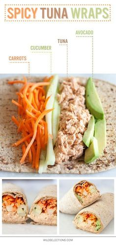 Tuna Wraps Make lunch interesting again with this Spicy Tuna Wrap recipe featuring Wild Selections® Solid White Albacore.Make lunch interesting again with this Spicy Tuna Wrap recipe featuring Wild Selections® Solid White Albacore. Healthy Food Recipes, Healthy Snacks, Healthy Eating, Cooking Recipes, Healthy Work Lunches, Healthy Lunch Wraps, Healthy Tuna Salad, Healthy Meal Prep, Healthy Organic Recipes