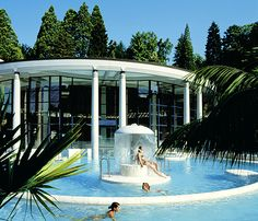 Caracalla Spa in Baden-Baden--in February, snow was on the ground and we were outside in these warm/hot springs. It was cool :)