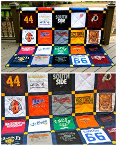 T-shirt quilt: would love to make this kind for my high school t-shirts!