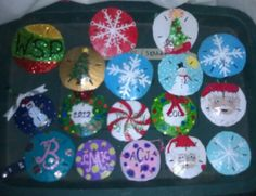 Picked by hand, Hand painted, bleached sand dollars made into Christmas Tree Ornaments
