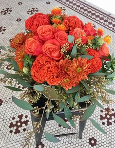 Orange Crush This seasonal bouquet is a Mary Pinson design based on flower market availability. This picture is only a representation of the bouquet of the month. October Bouquet, Flower Studio, Orange Crush, Flower Market, Floral Wreath, Seasons, Flowers, Finches, Floral Crown