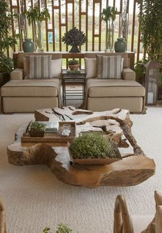* Truly organic. Wooden coffee table with plants and natural baskets and trays
