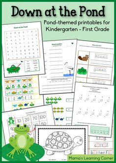 Down at the Pond - Free Worksheet Packet for K-1st Grade - There are many more fun packets a this website!