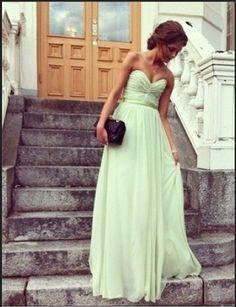 Glamorous Sage Sweetheart Floor Length Prom Dress/Graduation Dresses