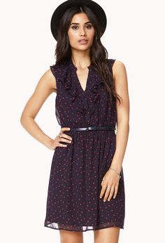 navy chiffon dress with heart print