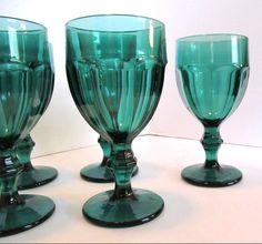 Set of 6 Vintage LIBBEY Duratuff Gibraltar Juniper Green Goblet Glasses USA