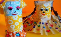 Recycle your toilet paper rolls and let your kids break out the imaginations and make their own Toilet Paper Roll Friends. There are many things to do with toilet paper rolls and your kids will just love this one. Recycled Crafts Kids, Easy Crafts For Kids, Craft Activities For Kids, Crafts To Make, Art For Kids, Arts And Crafts, Craft Ideas, Cardboard Tube Crafts, Toilet Paper Roll Crafts