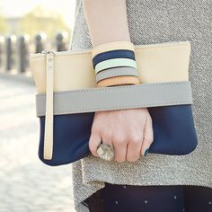 CHRISTMAS GIFT ORDERS STOP! On holiday season post services are overloaded and its not enough time to get packages by Christmas. Vegan clutch bag CarryMe. Navy clutch made of soft vegan leather, fabric inside. Unique GoodMoodMoon model. Beige shoulder strap comes with clutch so you can