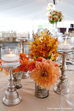 Fall colors and metallic spray painted candle sticks